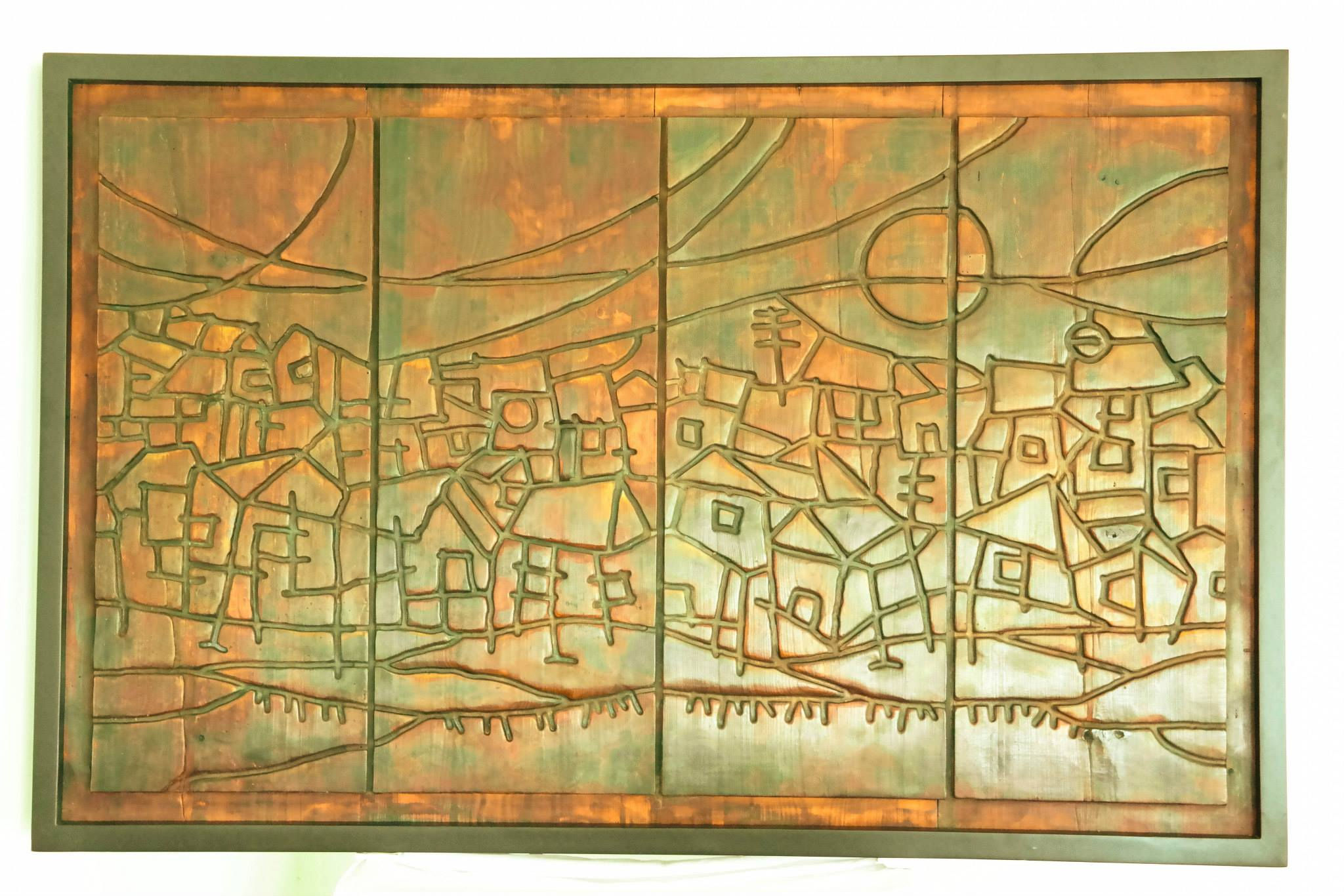 """Poverty Lines"" by Nick Aca Jr. 42""x56"" wood relief"