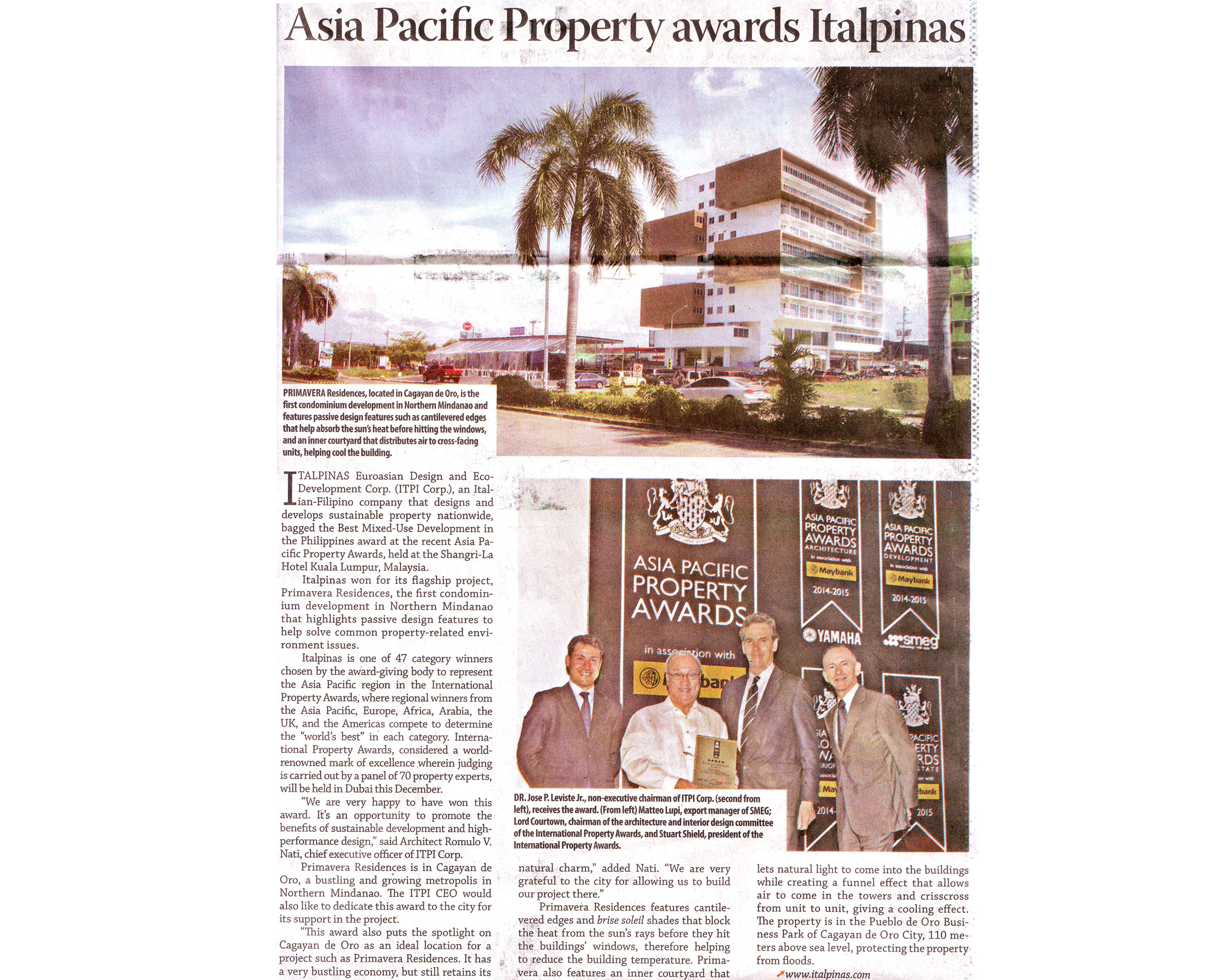 ITALPINAS,June42014,ItalpinasWins PropertyAwards,BusinessMirror