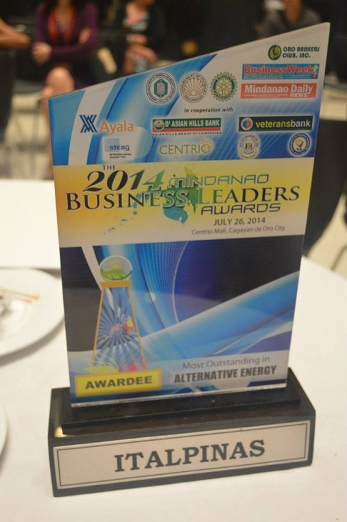 Mindanao Business Leaders Awards trophy