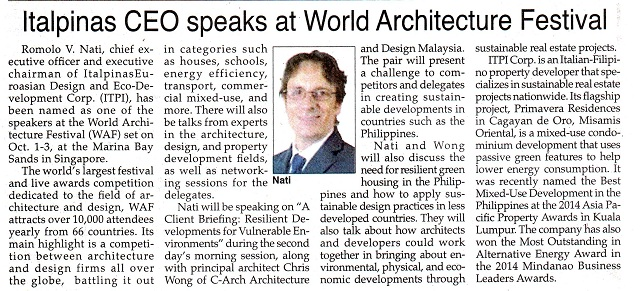 ITALPINAS,PhilippineStar,August22,2014,Italpinasworldarchitecture