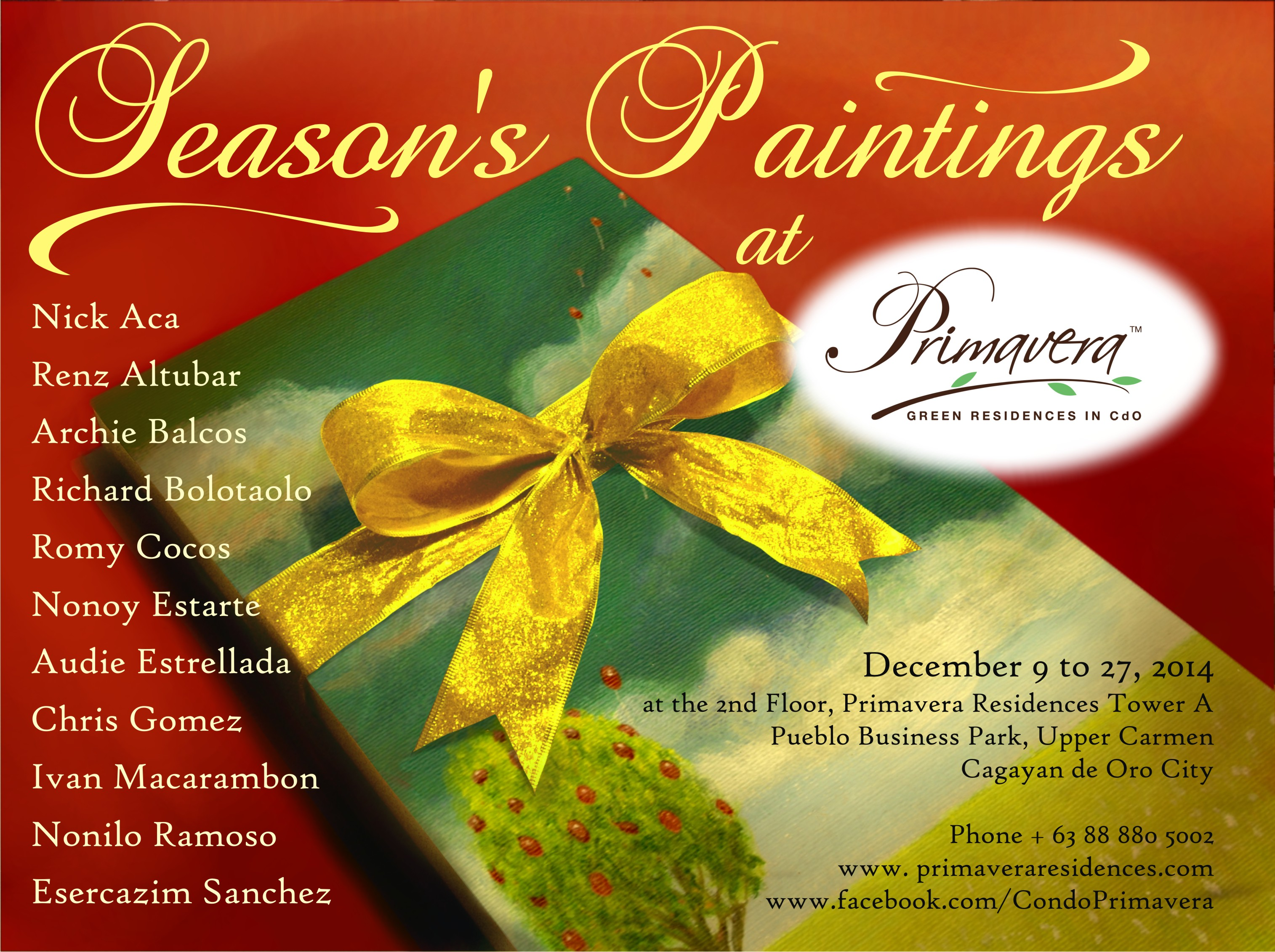 SEASONS PAINTINGS at PRIMAVERA poster and invitation