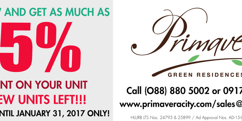 special discount- sale- Primavera Residences-Cagayan de Oro City-Italpinas Development Corporation