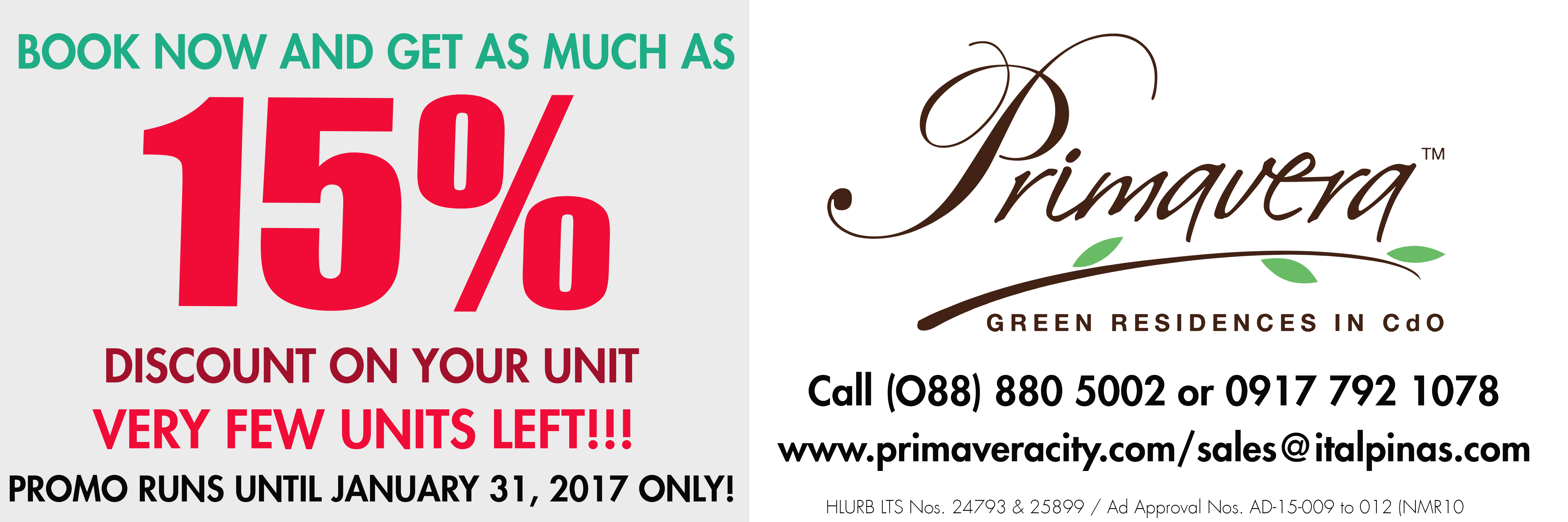 Primavera Residences Offers Special Discount Sale