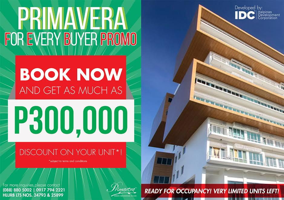 Primavera Residences Offers FEB Promo: Unit Discount up to P300k